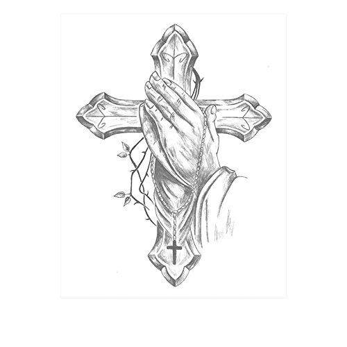 Vintage God - Set of 2 Waterproof Temporary Fake Tattoo Stickers Vintage Grey Cross God Pray
