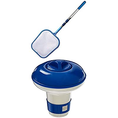 Hydro Tools 8051 Promotional 4-Foot Telescopic Pool Skimmer WITH Hydro Tools 8715 Floating Mini Tablet Spa Chemical Dispenser