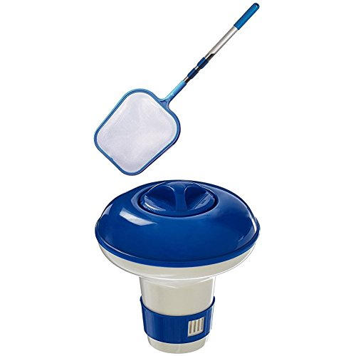 Hydro Tools 8051 Promotional 4-Foot Telescopic Pool Skimmer WITH Hydro Tools 8715 Floating Mini Tablet Spa Chemical Dispenser (Mini Floating)