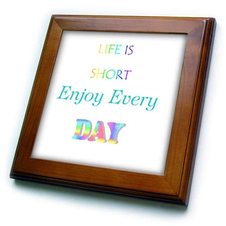 (3dRose Lens Art by Florene - Life is Short So - Image of Life is Short Enjoy Every Day in Rainbow Letters - 8x8 Framed Tile (ft_318360_1))
