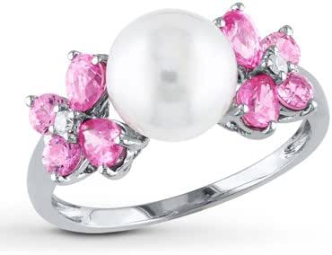 Amazon Com Cultured Pearl Ring Pink Sapphires Diamonds
