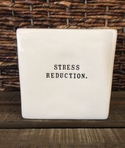 Rae Dunn STRESS REDUCTION (Front) BANG HEAD HERE (Back) Box Paperweight, 4 X 4 X 1.5