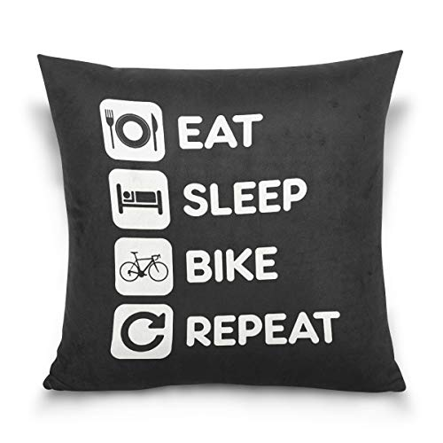 Aibileen Eat Sleep Bike Repeat Funny Text Art Decorative Cotton Short Plush Throw Pillow Case for Sports -