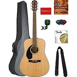 Fender CD-60S Solid Top Dreadnought Acoustic Guitar, Left Handed – Natural Bundle with Gig Bag, Tuner, Strap, Strings…