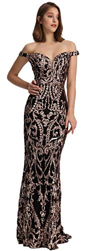 - Meier Women's Off The Shoulder Sequins Embellished Prom Formal Dress (Black/Rose Gold, 4)