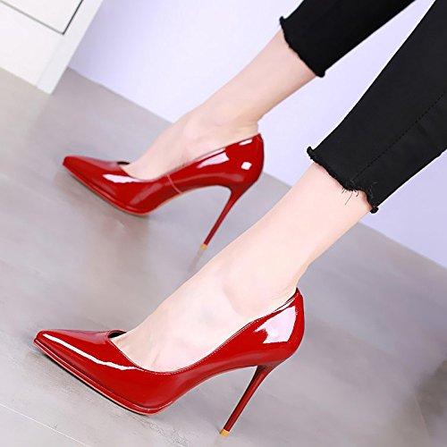 Solo Superficial de YMFIE Alto Sexy Moda b Zapatos de Zapatos tacón Brillante Apuntado de y Señoras Delgado Zapatos Son Cuero Simples Trabajo awvar