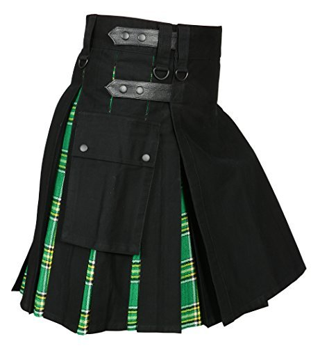 Men ' s Hybrid Utility Kilt Black & Irish Tartan (Belly Button - Irish Kilt