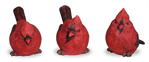 BANBERRY DESIGNS Cardinal Figurine Birds Decoration - Set of 3 Styles - 4 Inch High