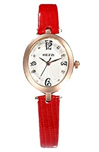 WUTAN Women's Wrist Watch, Stylish Red Leather Watches for Women, Fashion Analog Quartz Ladies Timepiece Teen Girls Oval Dress Watch