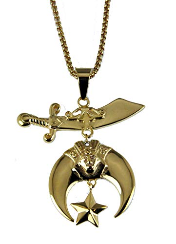 (The Quiet Witness 4031841 Shriner Necklace Scimitar Moon Star Shrine Pendant Hospital Noble Fez Imperial)