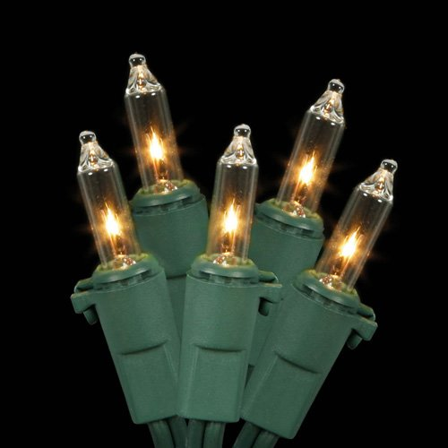 Vickerman Clear Mini Christmas Lights with 4 Spacing and Green Wire, Set of 35