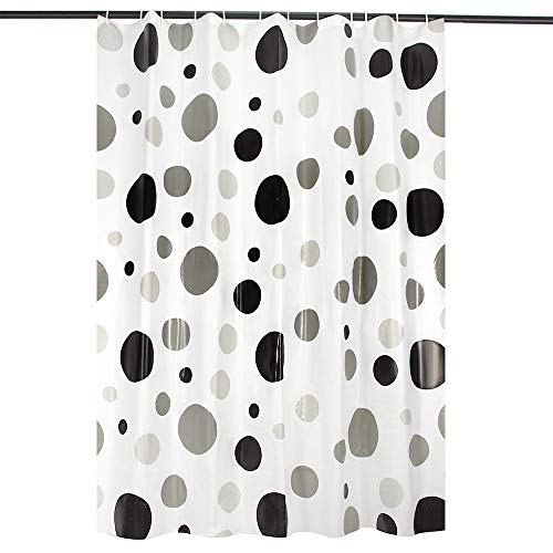 (AFFLLA Spa Shower Curtain Thick 78 inch Toile Curtains Eco-Friendly Bath Curtain Polka Dot Pattern with 12 Plastic Delicate Hooks Bath Cap, 72x78)