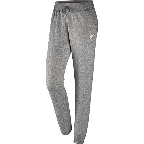 NIKE Womens Sportswear Loose Fleece Pants, Dark Grey Heather/Matte Silver/White, Large