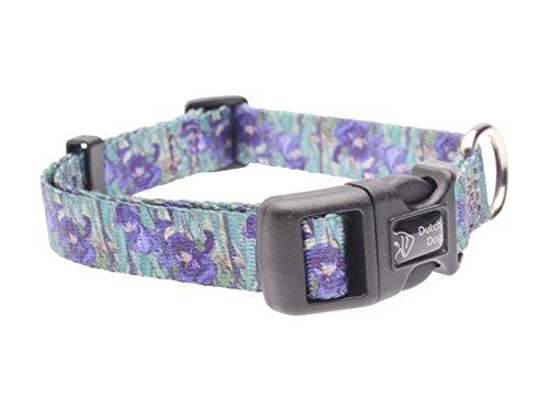 DoggyRide Fashion Dog Collar, 10 by 15-Inch, Van Gogh Irises, Green/Purple
