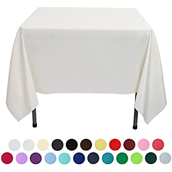 VEEYOO 70 Inch Square Solid Polyester Tablecloth For Wedding Restaurant  Party, Ivory