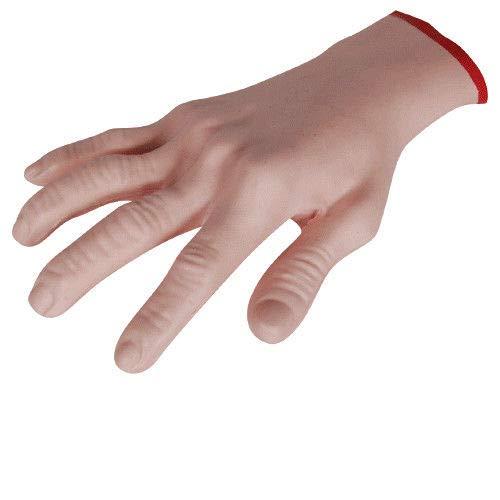 Rabinyod Bulan Cut Off Human Hand Prop Latex Rubber Flexible Bloody Wrist Halloween Decoration
