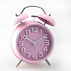 Florlife Sharp Twin Bell Analog Alarm Clock Loud Alarm Clock Heavy Sleepers, Non Ticking, Nightlight, Battery Operated Desk Clock