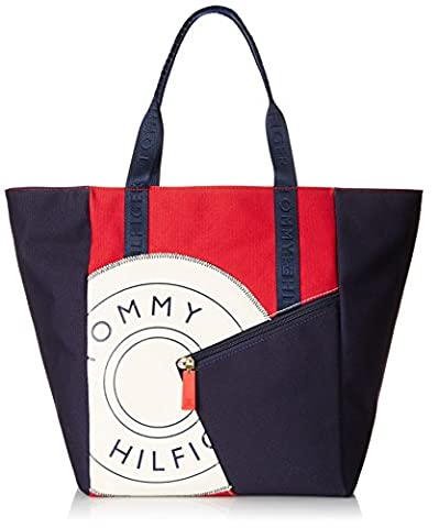 Tommy Hilfiger Sporty Rugby 2 Canvas Travel Tote, Navy/Red/Natural, One Size - Sporty Travel Tote