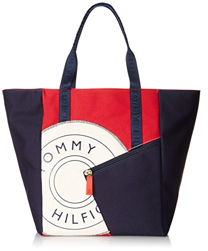 (Tommy Hilfiger Sporty Rugby 2 Canvas Travel Tote, Navy/Red/Natural, One)