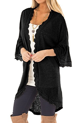 Chunoy Women Casual Spring Kimono Bell Sleeve Hollow Out Lace Short Cardigan Black X-Large by Chunoy (Image #1)