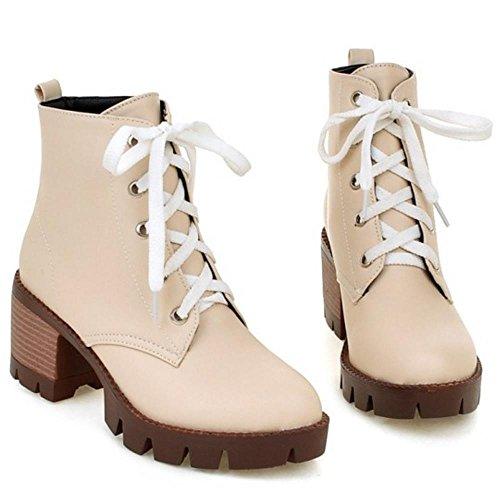 Women Street Style FizaiZifai up Heel Bootie Lace High Beige Platform 7q6Yw