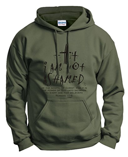(Christian Gift I Am Not Ashamed Romans Verse Hoodie Sweatshirt Large)