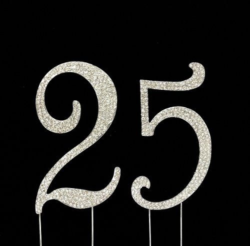 - Number 25 for 25th Birthday or Anniversary Cake Topper Party Decoration Supplies, Silver, 4.5 Inches Tall
