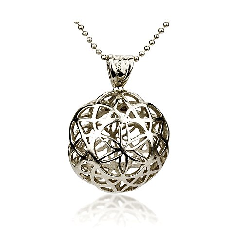 Amazon silver flower of life pendant handmade flower sterling silver flower of life pendant handmade flower sterling silver pendant flower ball shape aloadofball Images