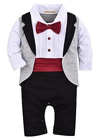ZOEREA 1pcs Baby Boys Tuxedo Onesie Romper Jumpsuit Wedding Suit Black, Label 70 / 3-6 Months