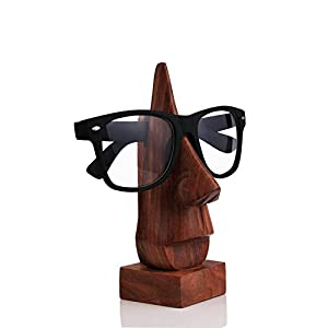 Special Gifts at Good Friday., Classic Hand Carved Sheesham wood Nose-Shaped Eyeglass Spectacle Holder, Eyewear Holder