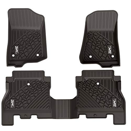 2018 Jeep Rubicon - 3W Floor Mats for Jeep Wrangler JL 2018 2019 - Full Set All Weather Floor Liners Carpet with Non-Toxic TPE 1st & 2nd Rows for JL Unlimited 4-Door (Not for JK), Black