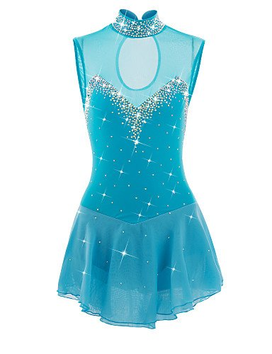 Skating Queen Figure Skating Dress for Girls Women Ice Skating Competition Performance Breathable Fabric Rhinestone Round Neck Handmade Professional Skating Wear Sleeveless Light Blue, child 14