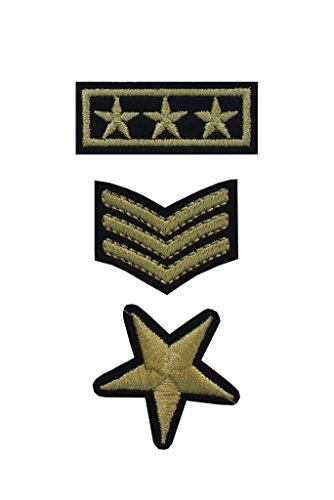 - TENNER.LONDON SET of 3 Iron on/Sew On Army Embroidered Patch Applique military Embroidery Motif officer transfer