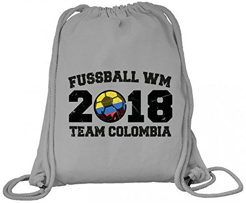 ShirtStreet Kolumbien Fußball WM Fanfest Gruppen Premium Bio Baumwoll Turnbeutel Rucksack Stanley Stella Team Colombia Heather Grey 12Z3ECjx