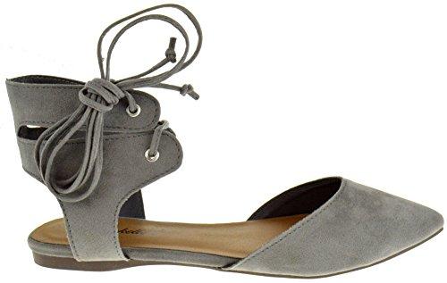 Chaussure Dezigns Deanna 01 Faux Suède Bout Pointu Envelopper Autour De La Cheville Lacets Appartements Gris