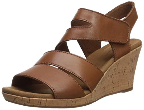 (Rockport Women's Briah Asym Wedge Sandal Tan 7 M US)