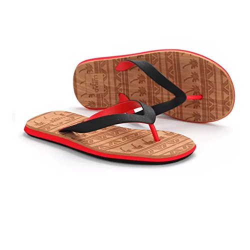 Baymate Men'S Flip Flops Comfort Toe Post Sandal Casual Pool Shoes Red CnbbejZEH