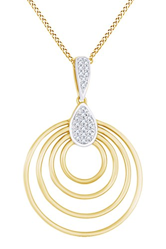 AFFY Round Cut White Natural Diamond Multi Circle Pendant Necklace in 14k Solid Yellow Gold (0.09 Ct) ()