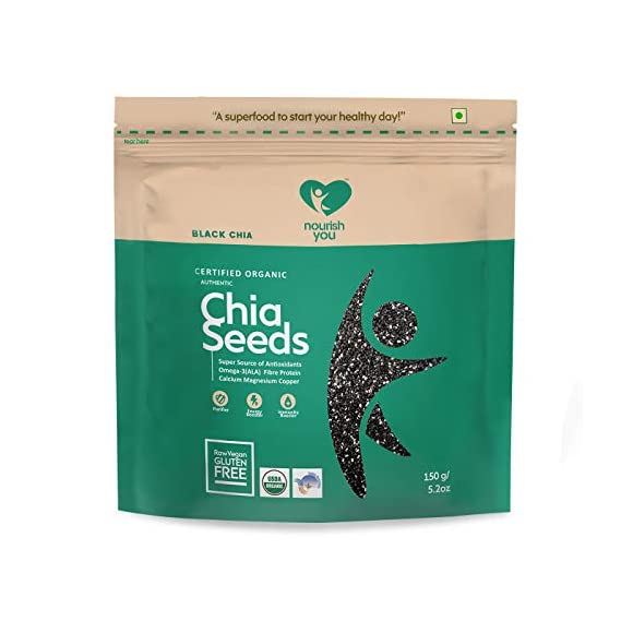 Nourish You Organic Black Chia Seeds, 150gm (Single pack)