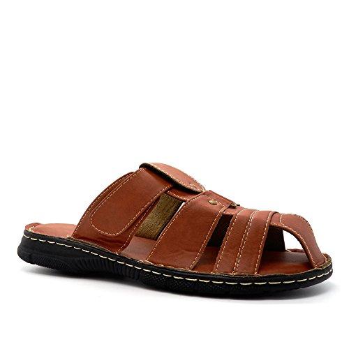 London Footwear , Herren Durchgängies Plateau Sandalen mit Keilabsatz Hellbraun