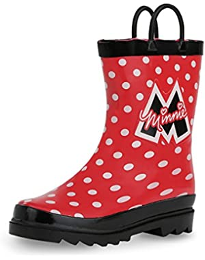 Kids Girls' Minnie Mouse Character Printed Waterproof Easy-On Rubber Rain Boots (Toddler/Little Kids)