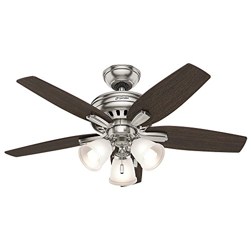 "Hunter Fan Company 51085 Newsome Ceiling Fan with Light, 42""/Small, Brushed Nickel"