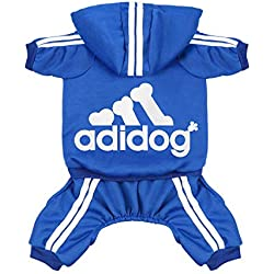 Scheppend Original Adidog Pet Clothes for Dog Cat Puppy Hoodies Coat Doggie Winter Sweatshirt Warm Sweater Dog Outfits, Blue Medium
