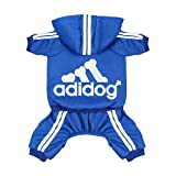Scheppend Original Adidog Pet Clothes for Dog Cat Puppy Hoodies Coat Doggie Winter Sweatshirt Warm Sweater Dog Outfits, Blue Small