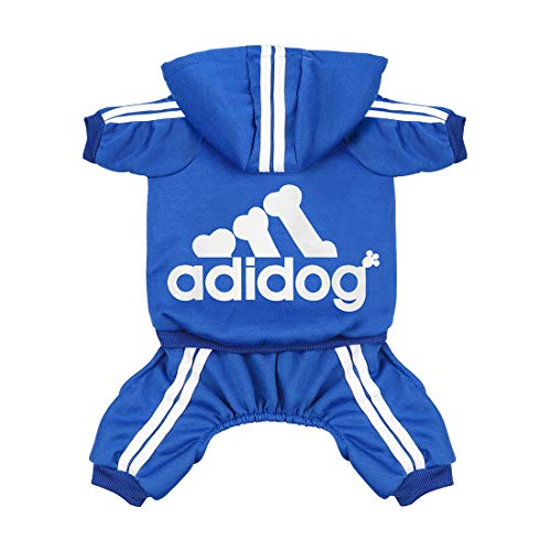- Scheppend Original Adidog Pet Clothes for Dog Cat Puppy Hoodies Coat Doggie Winter Sweatshirt Warm Sweater Dog Outfits, Blue Large