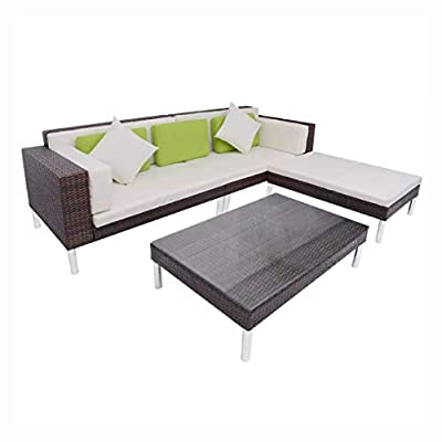 HomyDelight Outdoor Furniture Set, 4 Piece Garden Lounge Set with Cushions Poly Rattan Brown