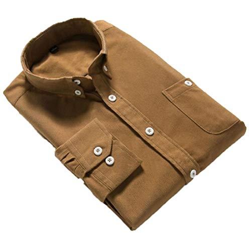 YONGM Mens Corduroy Long Sleeve Lapel Button Up Shirts 1 XL