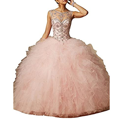 Sunday Womens Sheer Neck Beads Back Hollow Ball Gowns Quinceanera Dresses 8 US Pale Pink