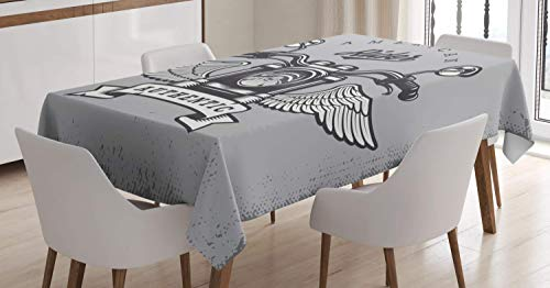 - Lunarable Route 66 Tablecloth, Classic Motorcycle Icon with American Rider Calligraphy Freedom Speed, Dining Room Kitchen Rectangular Table Cover, 52 W X 70 L Inches, Pale Grey Charcoal Grey