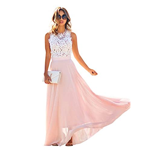 Doreen Womens Vintage Chiffon Formal Prom Party Evening Gown Wedding Maxi Dress Size,White/light Pink,Large